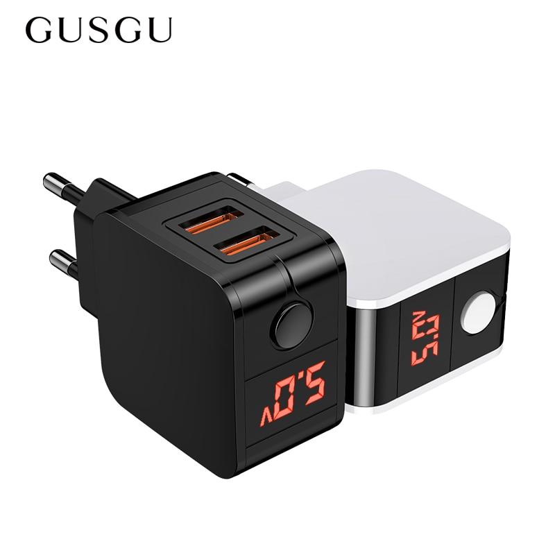 Gusgu carregador usb display led duplo carregador de telefone rápido adaptador parede carregador viagem ue para iphone samsung