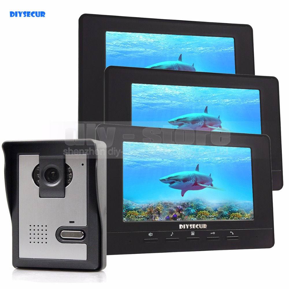 купить DIYSECUR 7inch Video Intercom Video Door Phone Doorbell IR Night Vision Camera 3 Monitors 800 x 480 Black недорого