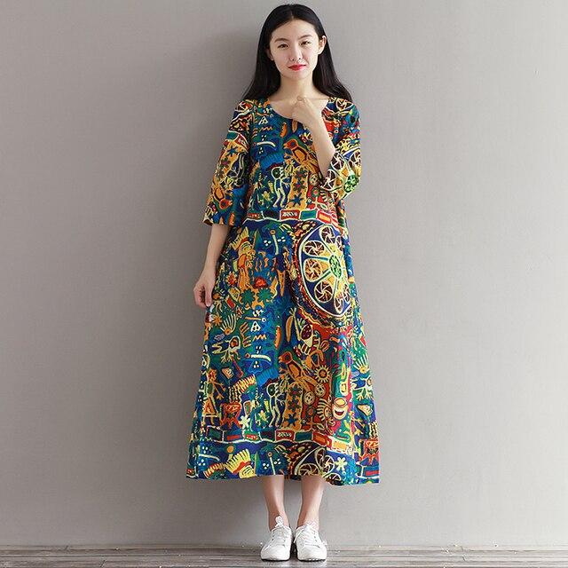 8b54776da0 2018 Summer Plus size cotton linen vintage Nation style print loose casual  long dress women vestidos robe femme dresses