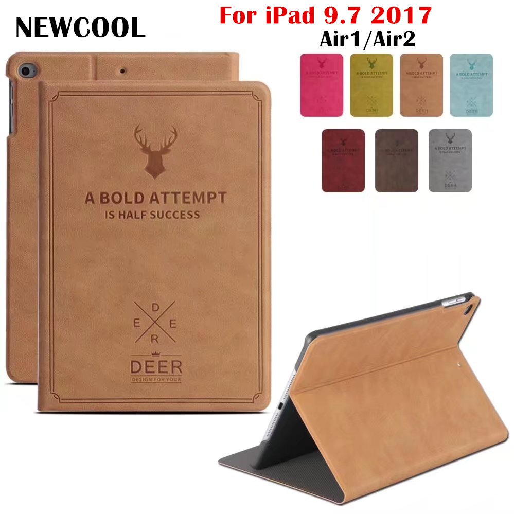 все цены на for New iPad 9.7 2017 A1822 tablet Magnet Retro Vintage PU Leather case Smart Cover for iPad Air2 Air1 ipad5 ipad6 tablet case онлайн