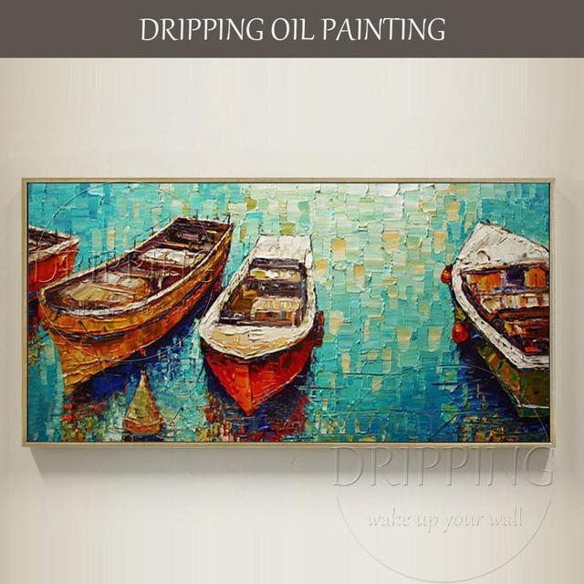 Artiste Main Peint Spécial Paysage Moderne Bateaux Peinture À L