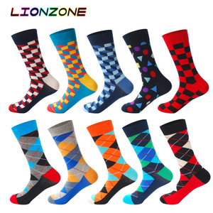 Image 3 - 10 Pairs Lot Pack Men Socks Funny Combed Cotton Character Oil Painting Wedding Gift Designer Dress Male Happy Socks + Free Gift