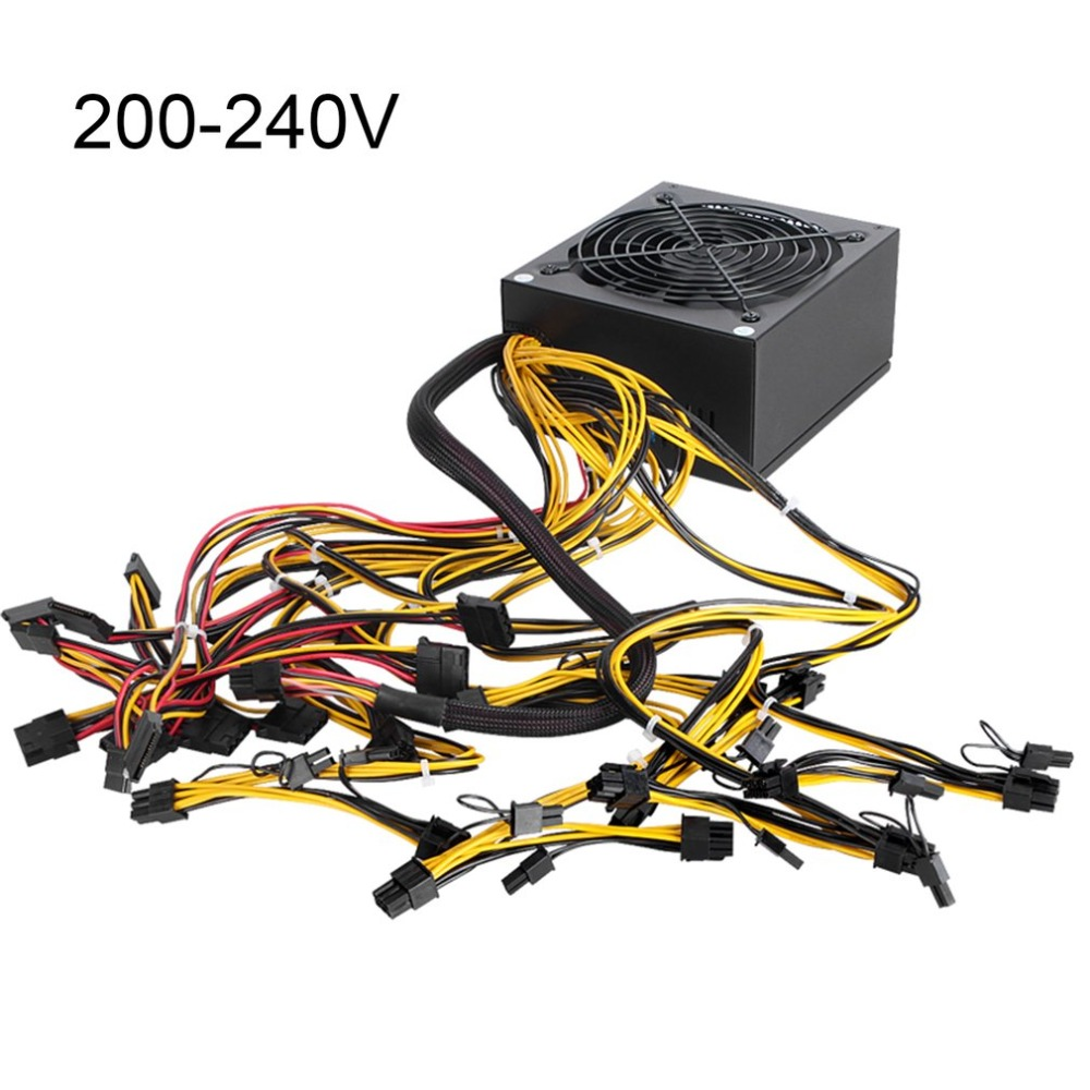 200-240V 1600W ATX Power Supply PFC 9 Blades Fan For Eth Rig Ethereum Coin Miner Mining 8 SATA Interfaces Power Supply 1600w atx power supply 14cm fan set for eth rig ethereum coin miner mining machine power computer power