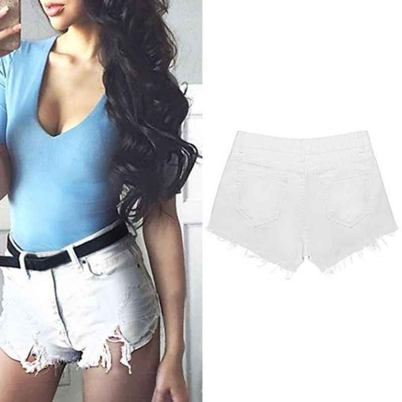 ac496577d36b7 ... Fashion Denim Shorts Women casual shorts with pockets Sexy hole White  Frayed Edges women shorts high ...