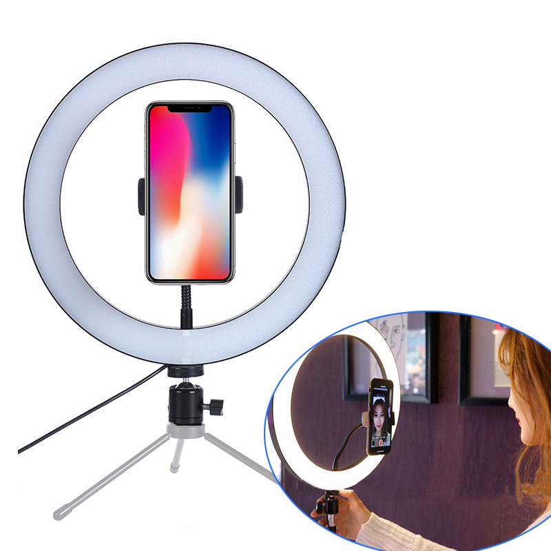 New LED Ring Flash Lights With Holder For Iphone Xiaomi Huawei Samsung Phones LED Flash Lamp With Ball Head For Tripod Bloggers