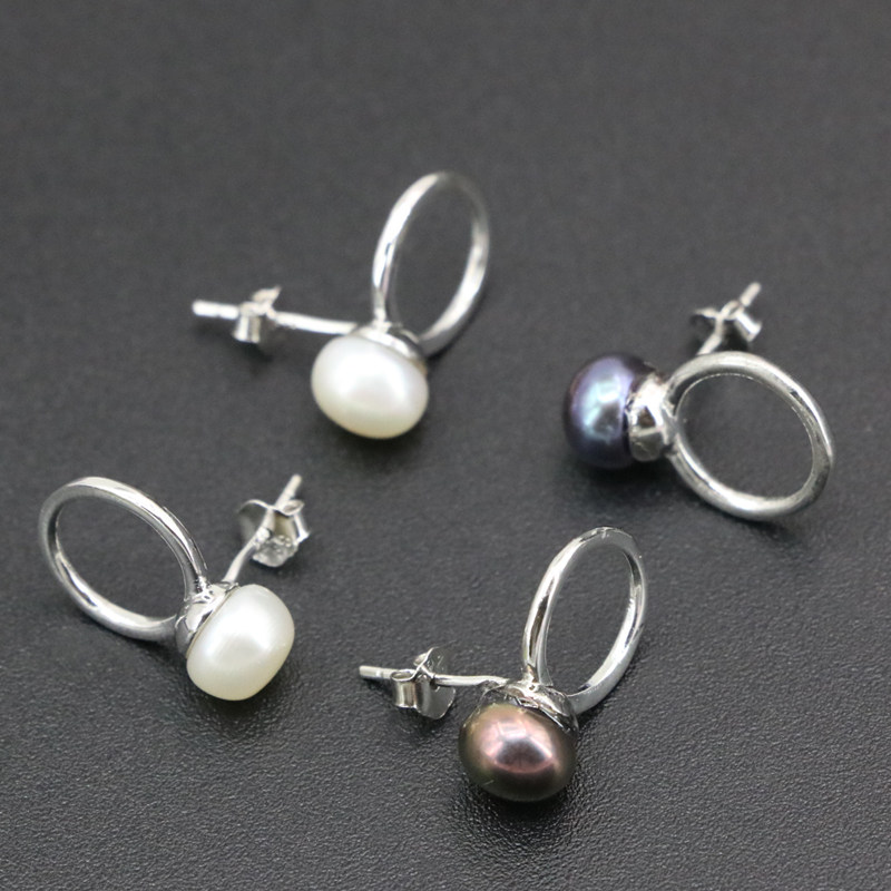 Fashion Statement Black And White Stud Earring For Women 7Mm Natural Freshwater Pearl -1489