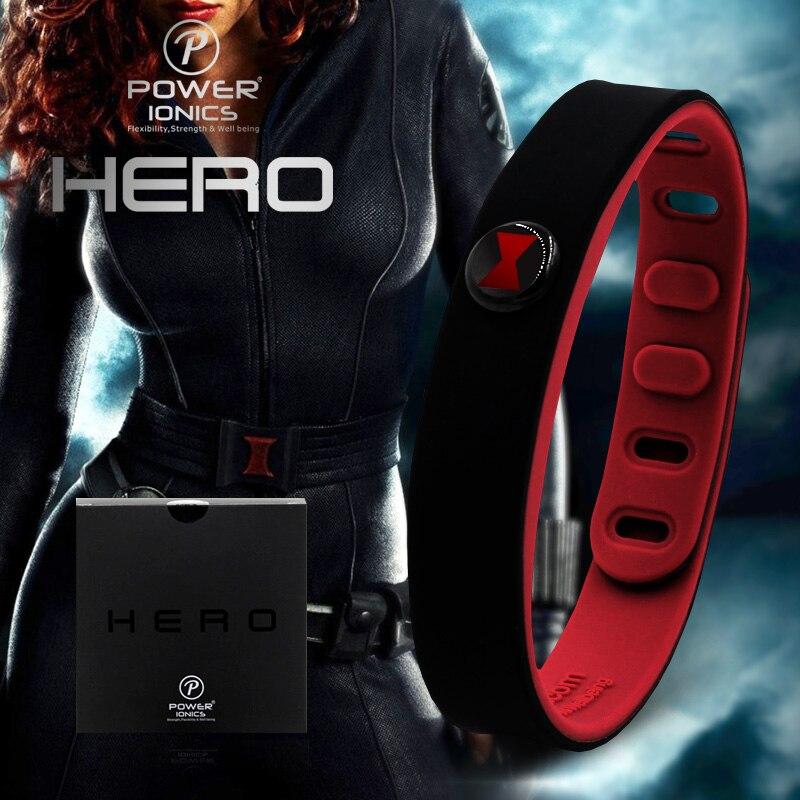 Potenza Ionics Eroe della Serie Blackwidow IDEA FASCIA 3000 ioni di Sport Impermeabile Titanio Sano Wristband Del Braccialetto Equilibrio Del Corpo