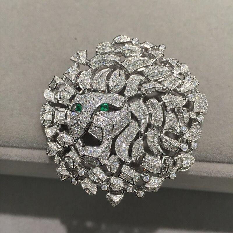 Hommes femmes bijoux tête de Lion broche bijoux résultats connecteurs Top qualité argent avec Zircon cubique livraison gratuite