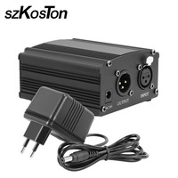 For Bm 800 Microphone 48V Phantom Power Supply with Adapter for Condenser Microphone Recording Equipment