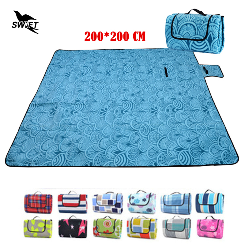 ФОТО 200*200cm Thicken Waterproof Moistureproof Folding Camping Mat Large Beach Mats Cheap Picnic Blanket Outdoor Tent Sleeping Pad