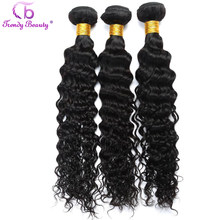 Trendy Beauty Brazilian Deep Curly Human Hair Weave Bundles 3 Pcs Per Lot 8-30 Inches Natural Black Color Can Be Dyed Non Remy(China)