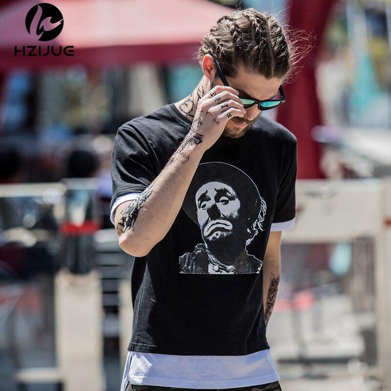 Hzijue Новинка 2017 в стиле хип-хоп Мужская футболка модный дизайн Mr. bean клоун Голова высокое качество печати длинный подол лоскутное мужской фут...