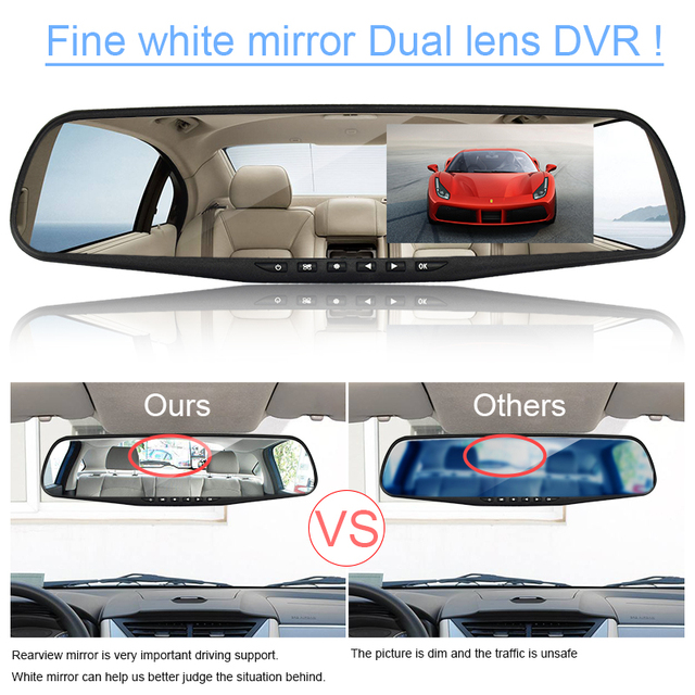 Dash Camera Car DVR Dual Lens Rear View