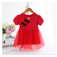 Newborn Baby Girls Fashion Infant Red Classic Style Cotton Tulle Tutu Princess Dress Chinese Cheongsam Ball Gown Dresses Clothes