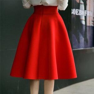 Image 3 - Faldas de talla grande hasta la rodilla para mujer, faldas de talle alto, plisadas, color blanco, rosa, negro, rojo y azul, 2019