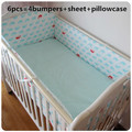 Promotion! 6pcs 100% cotton curtain crib bumper baby cot sets baby bed bumper ,include (bumper+sheet+pillow cover)