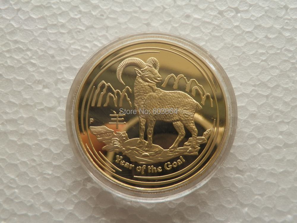 2015 Year Of The Goat 1 Oz Gold Plated Chinese Zodiac Commemorative Coin 1pcs/lot