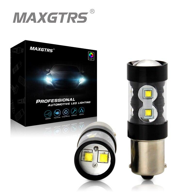 2х 50 Вт s25 обратные 1156 P21W BA15s КРИ чип 6000K Белый светодиод сигнала поворота света, резервного копирования Обратный Лампа BA15s Сид 360 градусов Луч 12В-24В