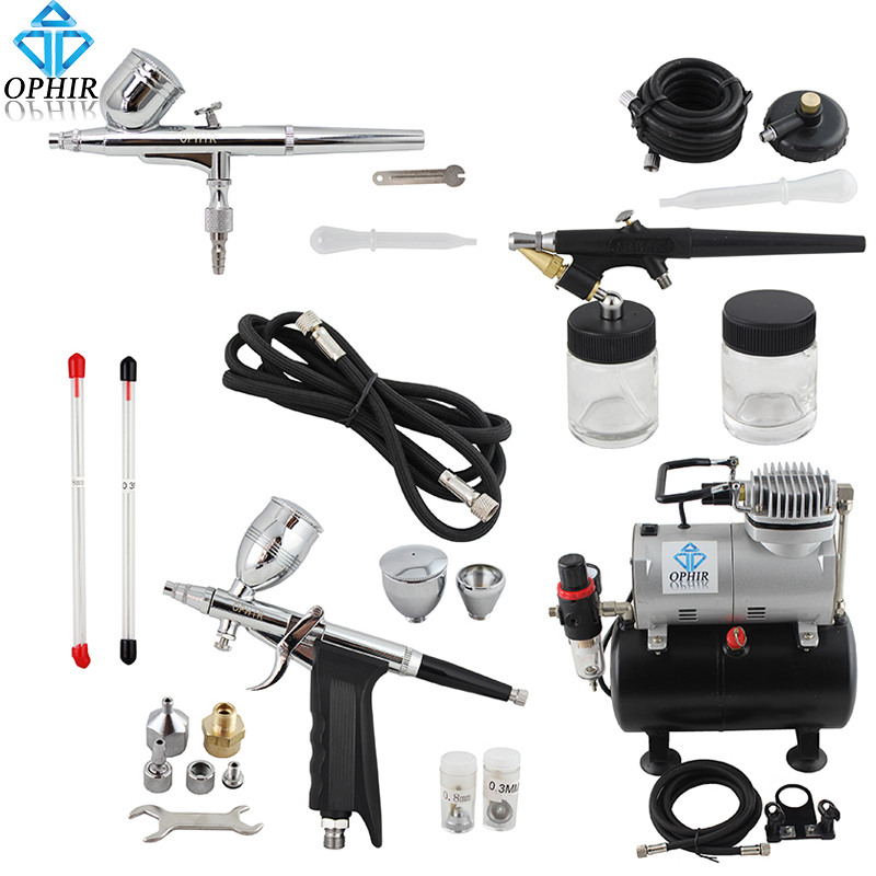 OPHIR Pro 0.3mm 0.5mm 0.8mm 3-Airbrush Kit w/ Air Tank Compressor for Hobby Cake De Art Set _AC090+004A+071+069