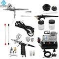 OPHIR Pro 0.3mm 0.5mm 0.8mm 3-Kit aérographe avec compresseur De réservoir d'air pour passe-temps gâteau Art Set _ AC090 + 004A + 071 + 069