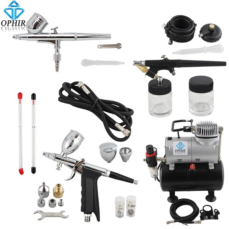 OPHIR Pro 0.3mm 0.5mm 0.8mm Airbrush Kit w/Réservoir D'air Compresseur pour Hobby Gâteau De Art ensemble _ AC090 + 004A + 071 + 069