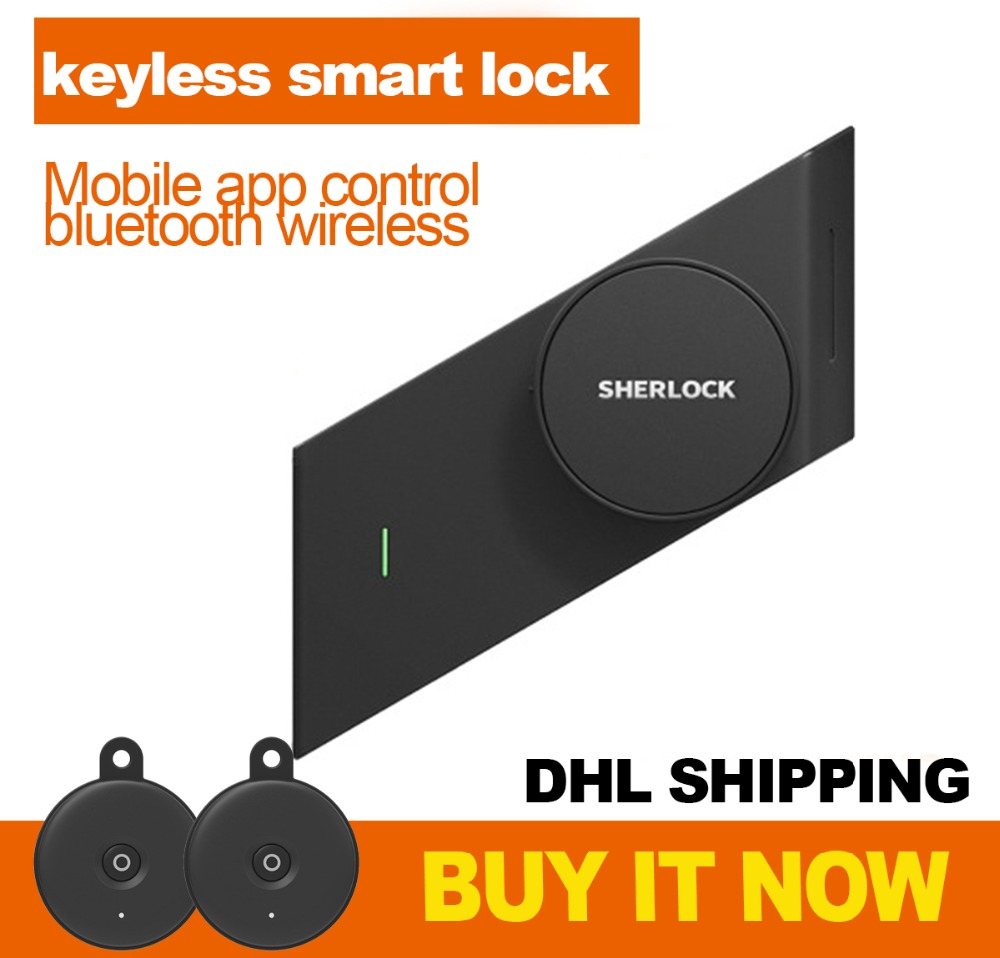DHL Free Shipping Sherlock Stick Smart Lock Phone App Control Electronic Wireless Keyless Lock With 2pcs Bluetooth Key
