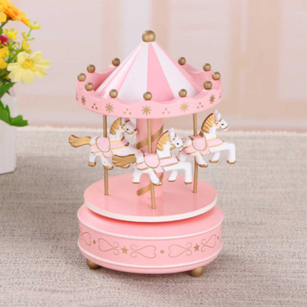 2019 Merry-Go-Round Kayu Kotak Musik Mainan Anak Bayi Permainan Dekorasi Rumah Carousel Kuda Kotak Musik Natal Pernikahan Hadiah Ulang Tahun