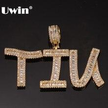 Nome das palavras do colar do pendente das letras iniciais do baguette feito sob encomenda de uwin com 4mm cz corrente de tênis completo iced zircônia cúbica jóias