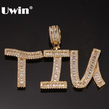 Uwin Custom Baguette Beginletters Hanger Ketting Woorden Naam Met 4 Mm Cz Tennis Chain Volledige Iced Zirconia Sieraden