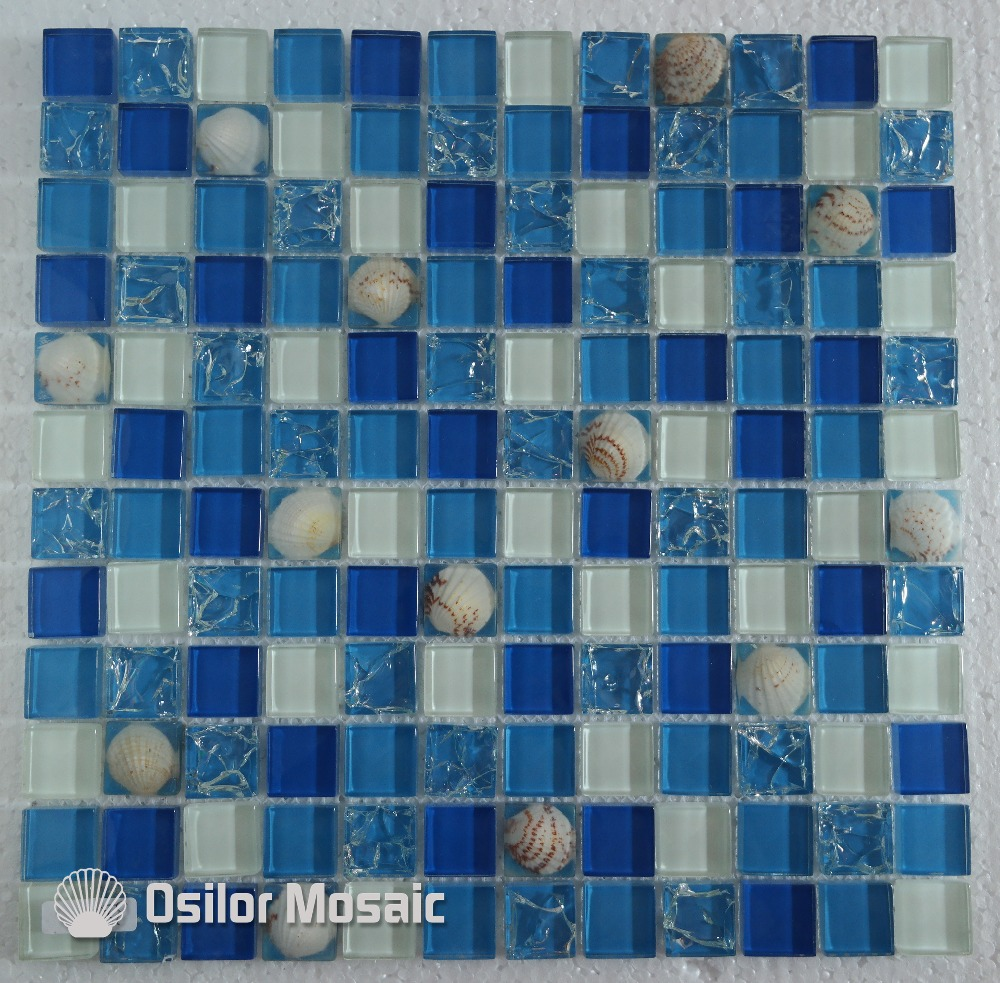 Free shipping mediterranean sea style glass crystal mosaic tile for ...