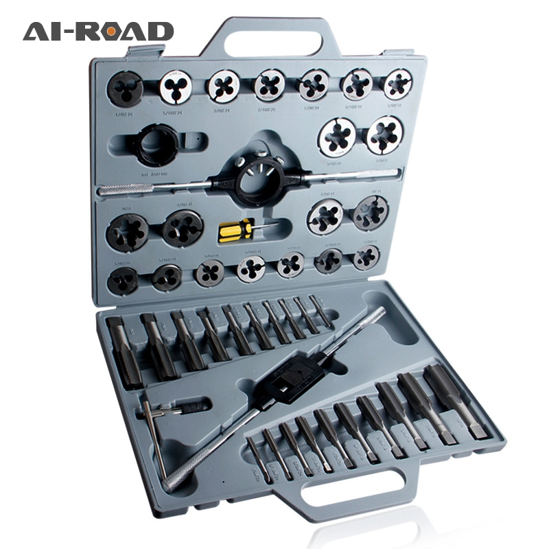 Metric Inch 45 Pieces Tap And Die Set Wrench Screwdriver Drill Bit Holder With Case