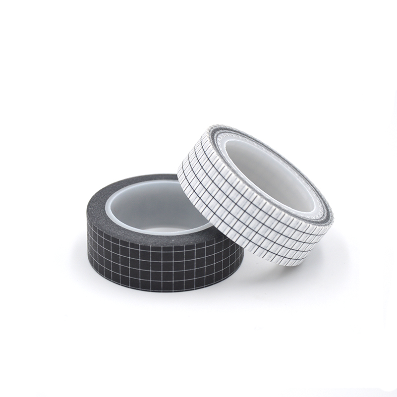 Simple Black White Grid Washi Tape Japanese Paper DIY Planner 10M Masking Tape Adhesive Tapes Sticker Decorative Stationery Tape