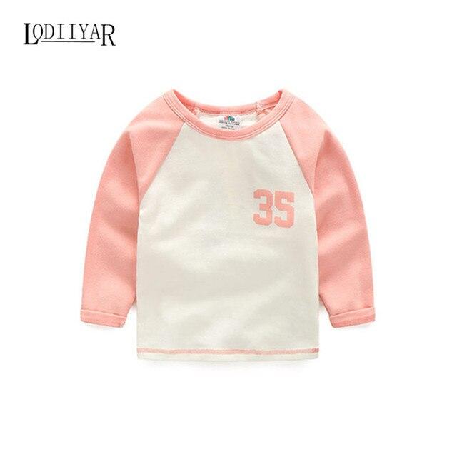 Casual Printed Digit Long Sleeve Top Tees, Baby Boys Girls Children Clothing, Pink Black T-shirt Autumn Spring Bottoming Shirts