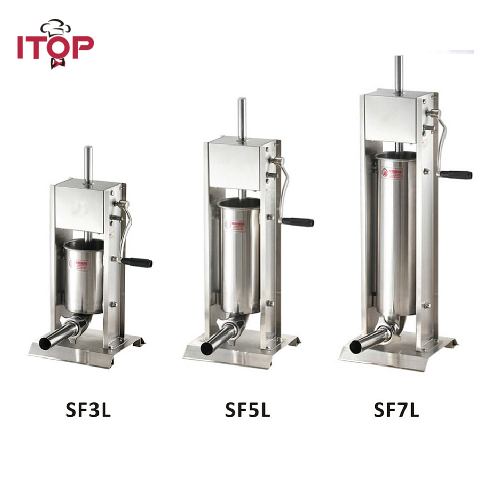 3L/5L/7L Sausage Filler Meat Filling Machine Manual Stuffer Commercial Stainless Steel Material 15lb 7l 7 litre manual sausage filler stainless steel vertical sausage stuffer commercial restaurant pork meat