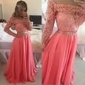 Beautiful New Arrival Sexy Pink Long Sleeves Evening Dress dress Beaded Lace Chiffon Formal Gown robe de soiree vestido de festa
