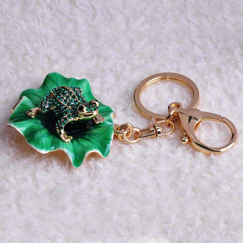 Blucome Encantador Irregular Big Esmalte Epóxi Verde Sapo Ouro Chaveiro Presente de Natal Animais Chaveiro Chaveiro Para Sacos de Senhora