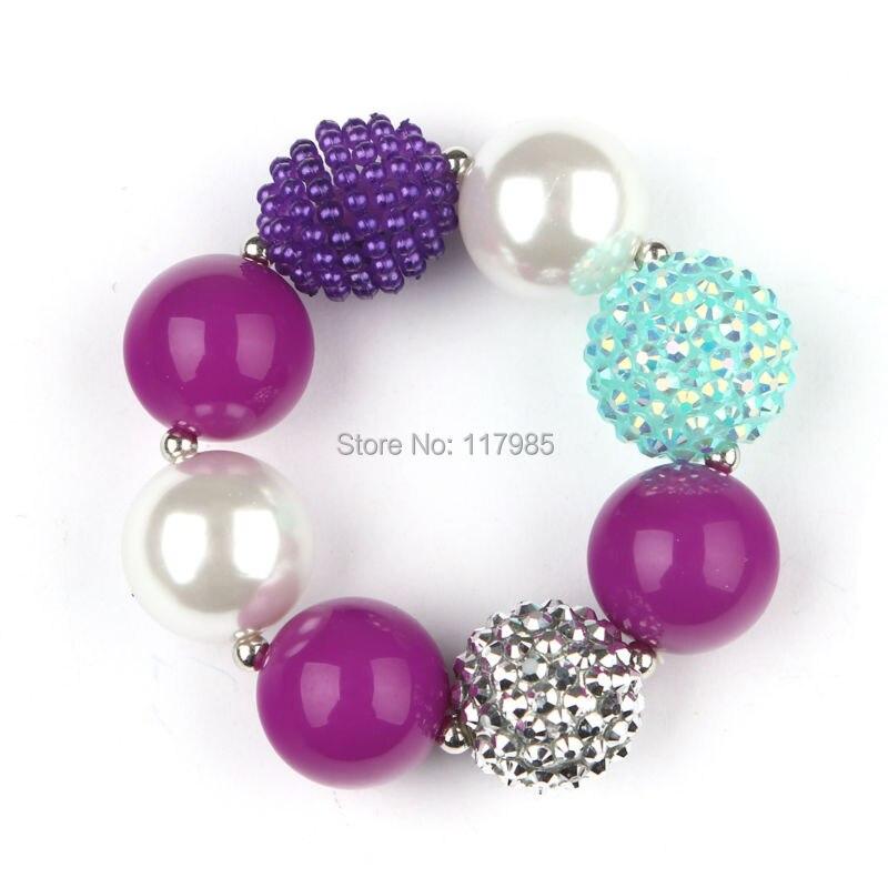 Christmas Gift New 3pcs Jelly Purple Kids Chunky Bracelet