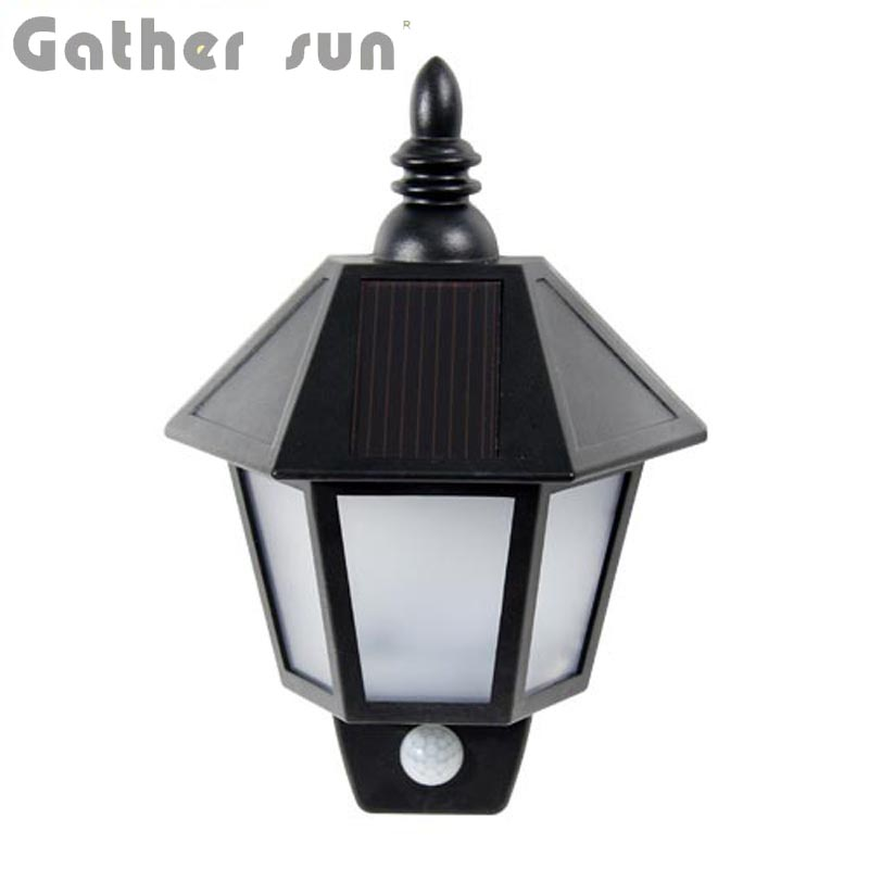 2PCS/lot Patent LED Solar Wall Light Outdoor Warm White ABS+PS Body Material IP44 Black PIR Sensor Lamp For House Lighting