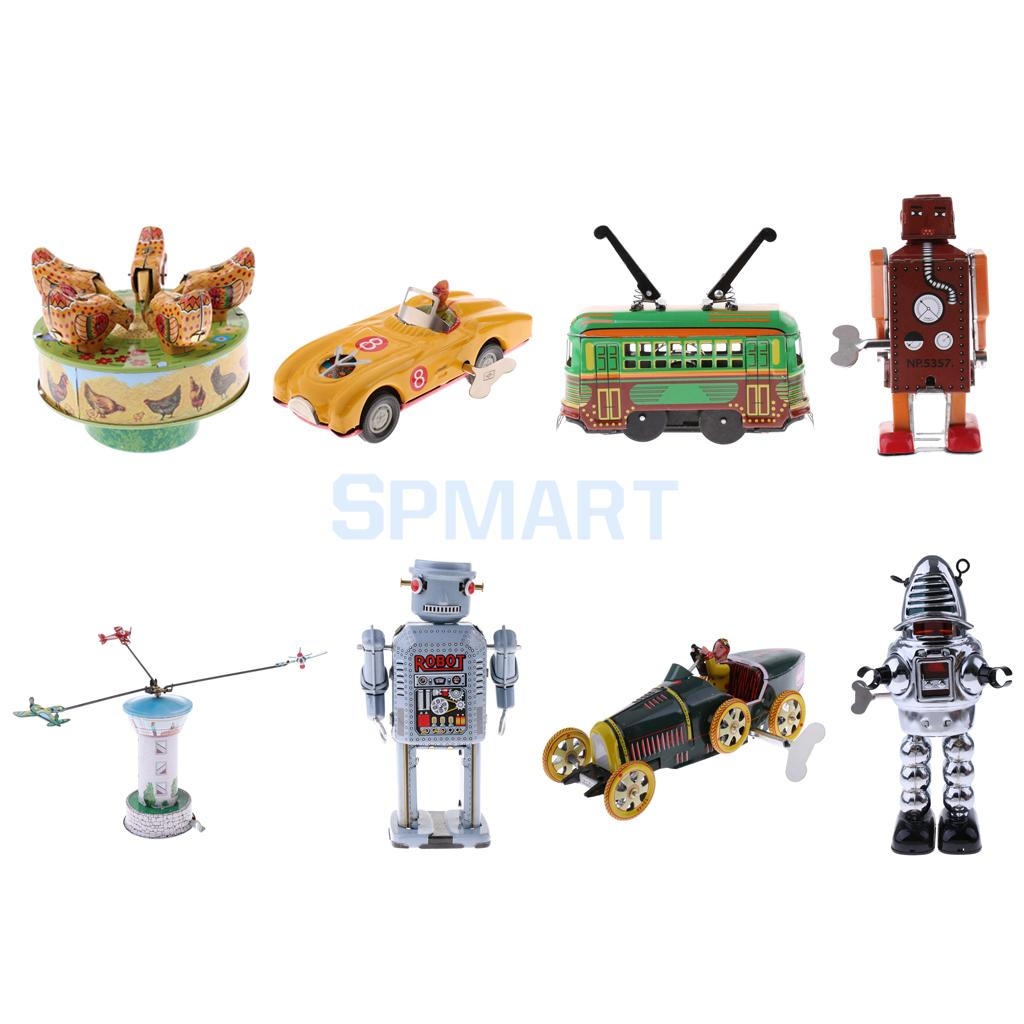 11 Styles Vintage Mechanical Clockwork Wind Up Walking Robot/Roadster Vehicle Car/Carousel Metal Collectable Tin Toy Kids Gift