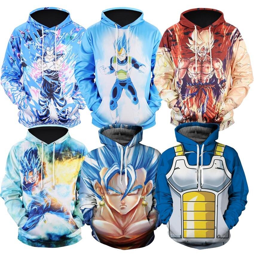 Naruto Dragon Ball Z Hoodies 3D Print Pullover Sportswear Sweatshirt Dragonball Super Saiyan Son Goku Vegeta Vegetto Outfit Tops hoodie