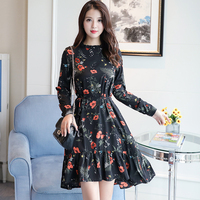 Korean Fashion 2018 New Fashion Women Long Sleeve Floral Print Dress Spring Mori Girl Flower Chiffon