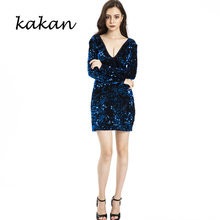 Kakan new womens sequined dress tight deep V sexy bag hip beads club party