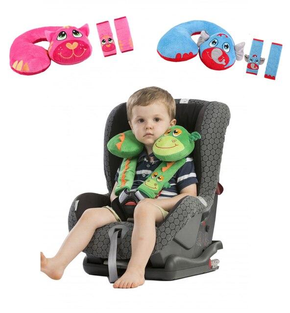 3 Pc Baby Kid Toddler Head Neck Suppot Headrest Travel Car Seat Pillow Stroller Cushion Belt