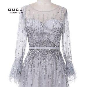 Image 5 - רסיס אפור ארוך שרוולים ערב שמלות ערבית בעבודת יד פניני נוצות אשליה חזרה אופנה Robe דה Soiree 2019 OL103493