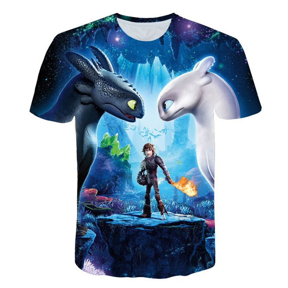 New adult Summer T-Shirt How to Train Your Dragon Toothless 3 Cartoon Cosplay T-shirts Casual Costume