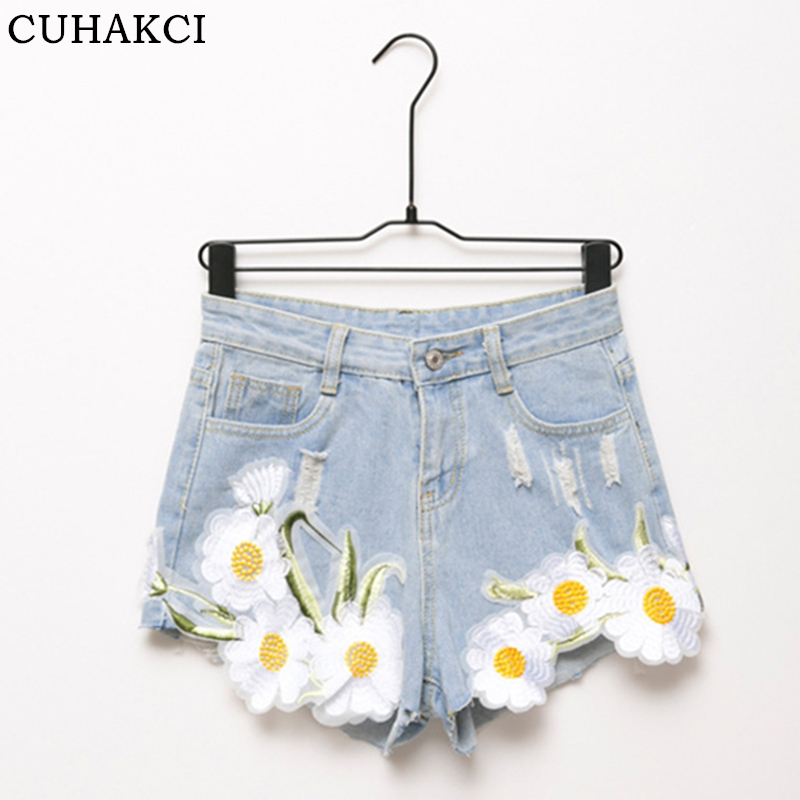 CUHAKCI Summer   Shorts   New Decals Corners Jeans   Shorts   Fashion White Flowers Middle Straight Women Denim   Shorts   Appliques