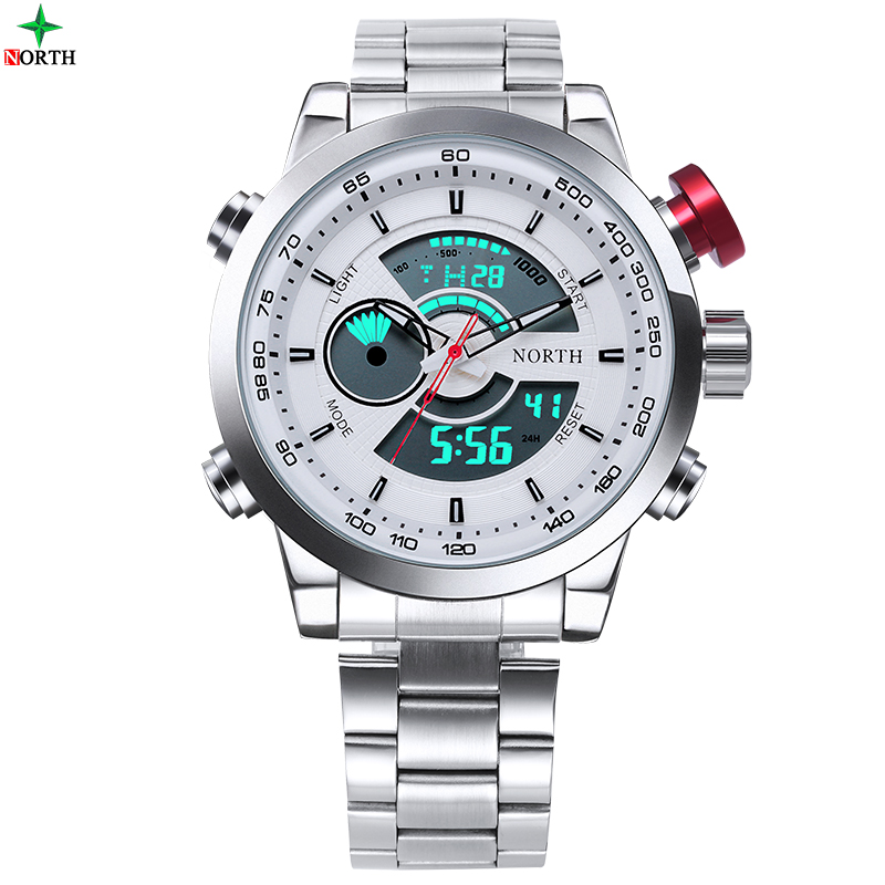 NORTH Men Sport Watch Multifunction LED Digital Analog Display Male Clock Waterproof Casual Military Quartz Sport Wristwatch Men goldenhour sport double display men wristwatch fashion casual men quartz watch led week display army alloy strap male clock