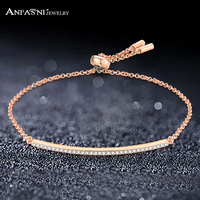 ANFASNI 100 Real 925 Sterling Silver Bracelet And Fashion Pave Clear AAA Cubic Zirconia Chain Bracelet