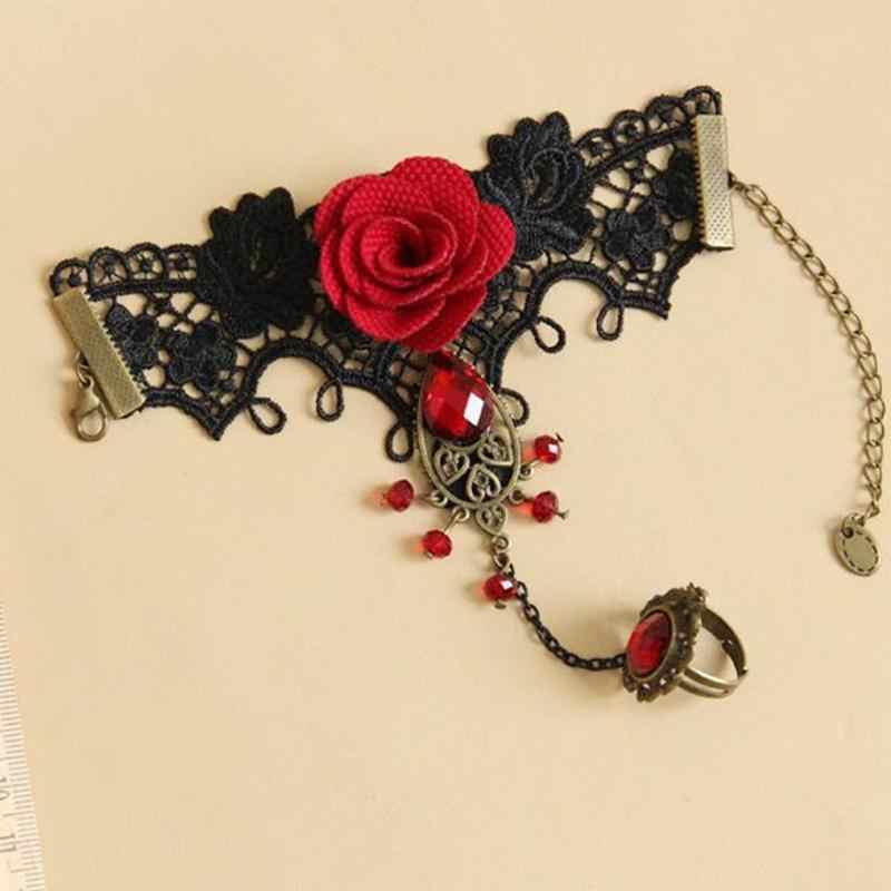 Элегантный готический стиль Кружева Красная роза браслет ювелирные изделия с регулируемым пальцем кольцо для невесты, свадебные ювелирные изделия из сплава