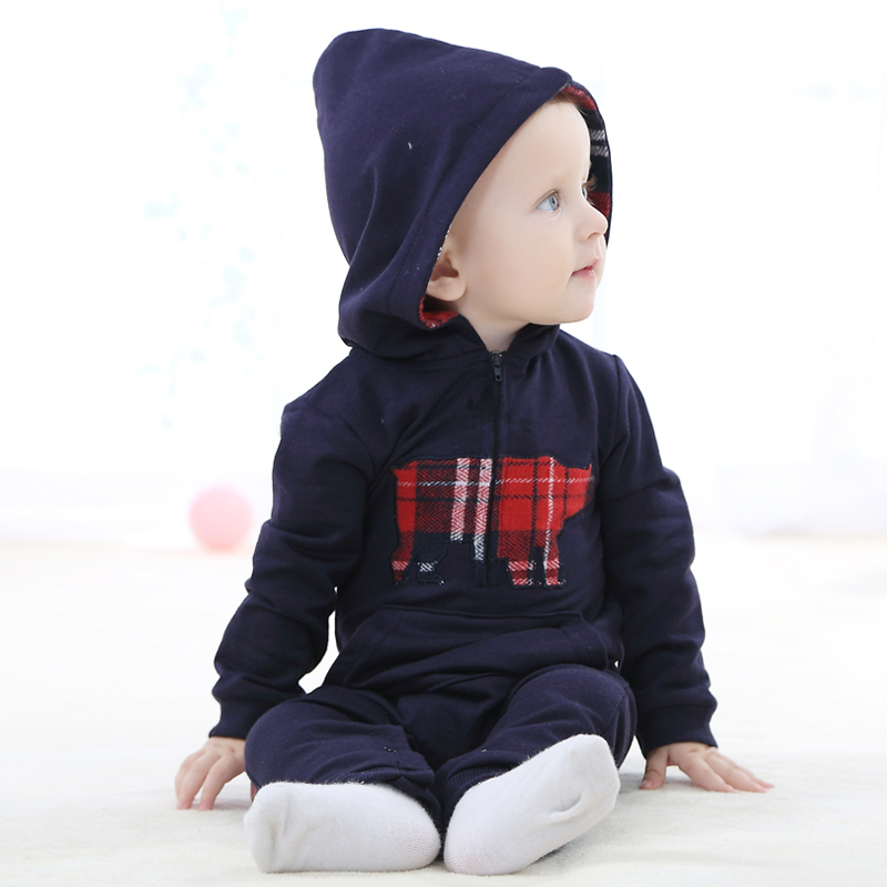 Autumn Winter Baby Rompers hooded Jumpsuit baby girls boys romper newborn toddle clothing hoodie overcoats with animal pictures puseky 2017 infant romper baby boys girls jumpsuit newborn bebe clothing hooded toddler baby clothes cute panda romper costumes